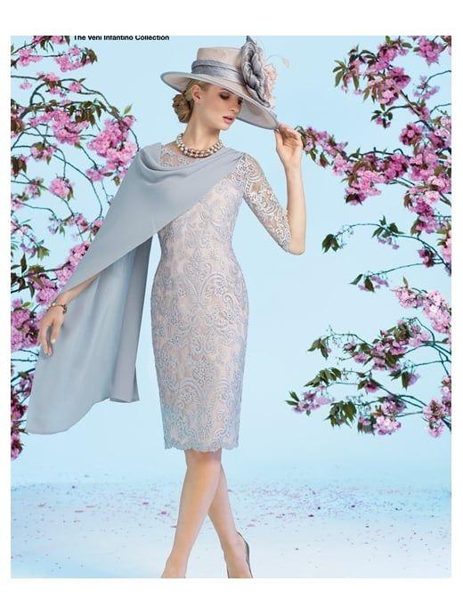 VENI INFANTINO Veni Infantino 991231 Sleeved Beaded Lace Dress With ...