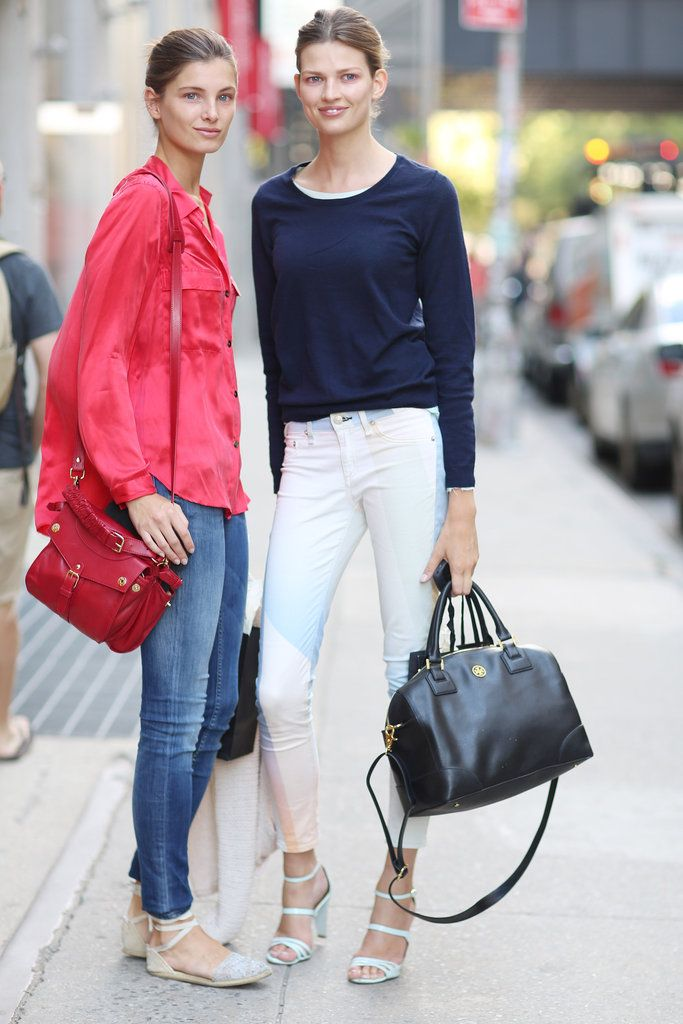 clean and classic jeans and tops for new york fashion week street style