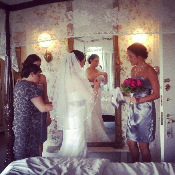 Beautiful Vermont Bride Stephanie getting ready with her bridesmaids at the Stowehof today.