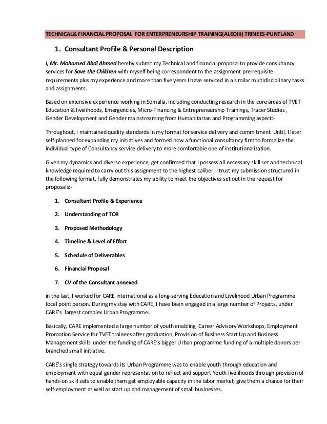 Technical Financial Proposal For Enterpreneurship Training