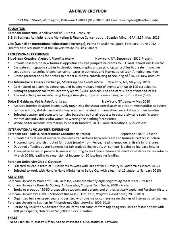 Sample Resume Strategic Planning Intern