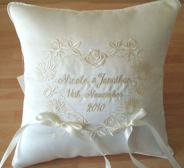 ITH wedding pillow Floral and Celtic Design Wedding Ring Cushions