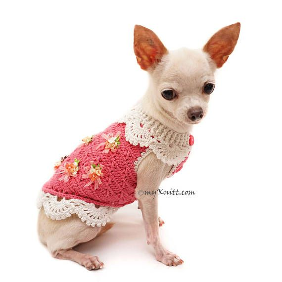 Pink Dog Sweater, Crochet Lace Dress, Chihuahua Clothes ...