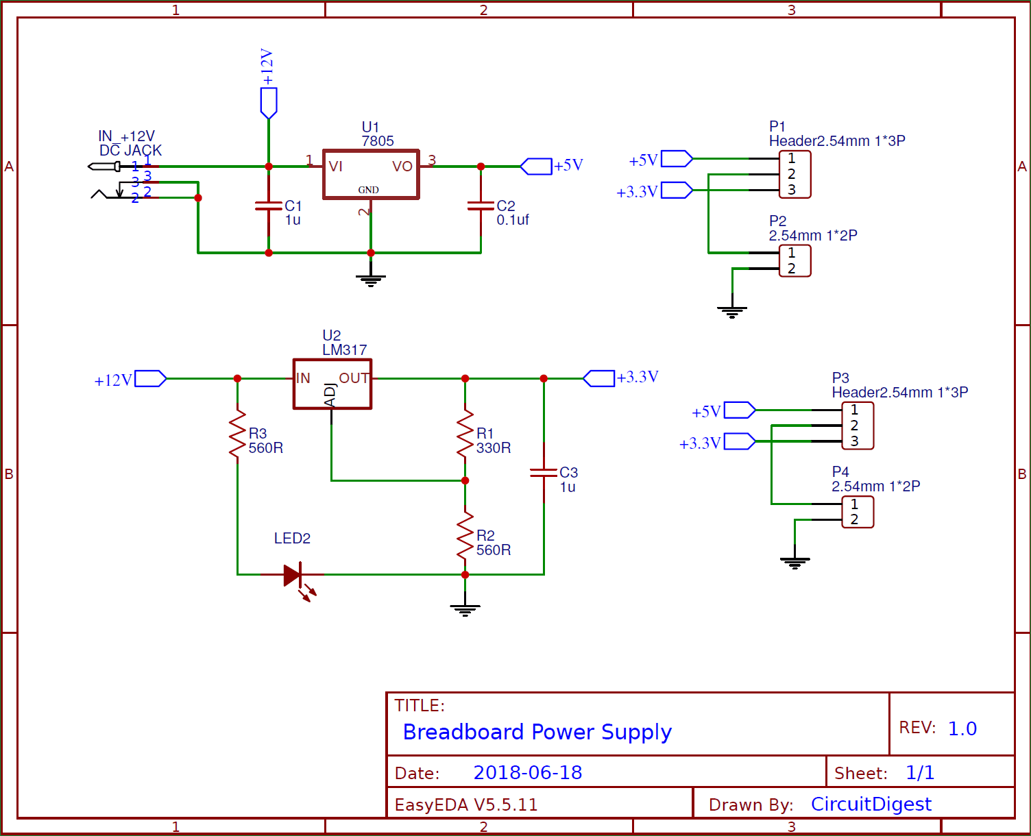 circuit diagram for diy breadboard power supply circuit on pcb [ 1504 x 1220 Pixel ]