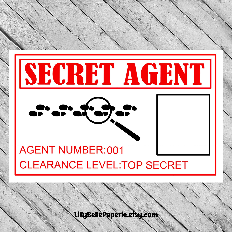 Printable Spy Secret Agent Id Badge James Bond Identification