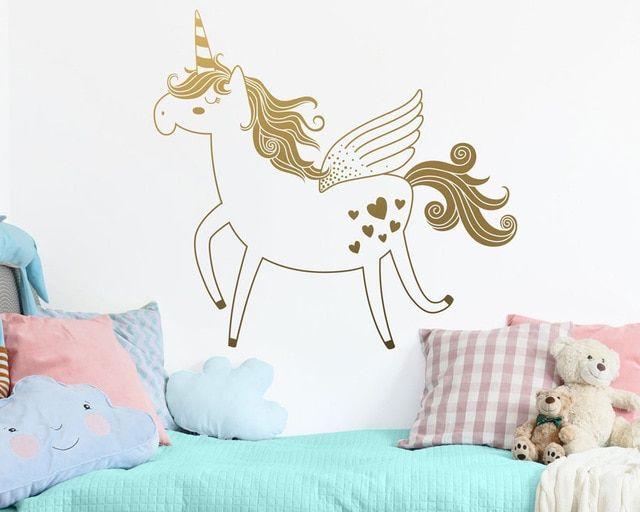 Unicorn Wall Sticker Removable Vinyl Decal For Girls Room Unicorn Wallpaper