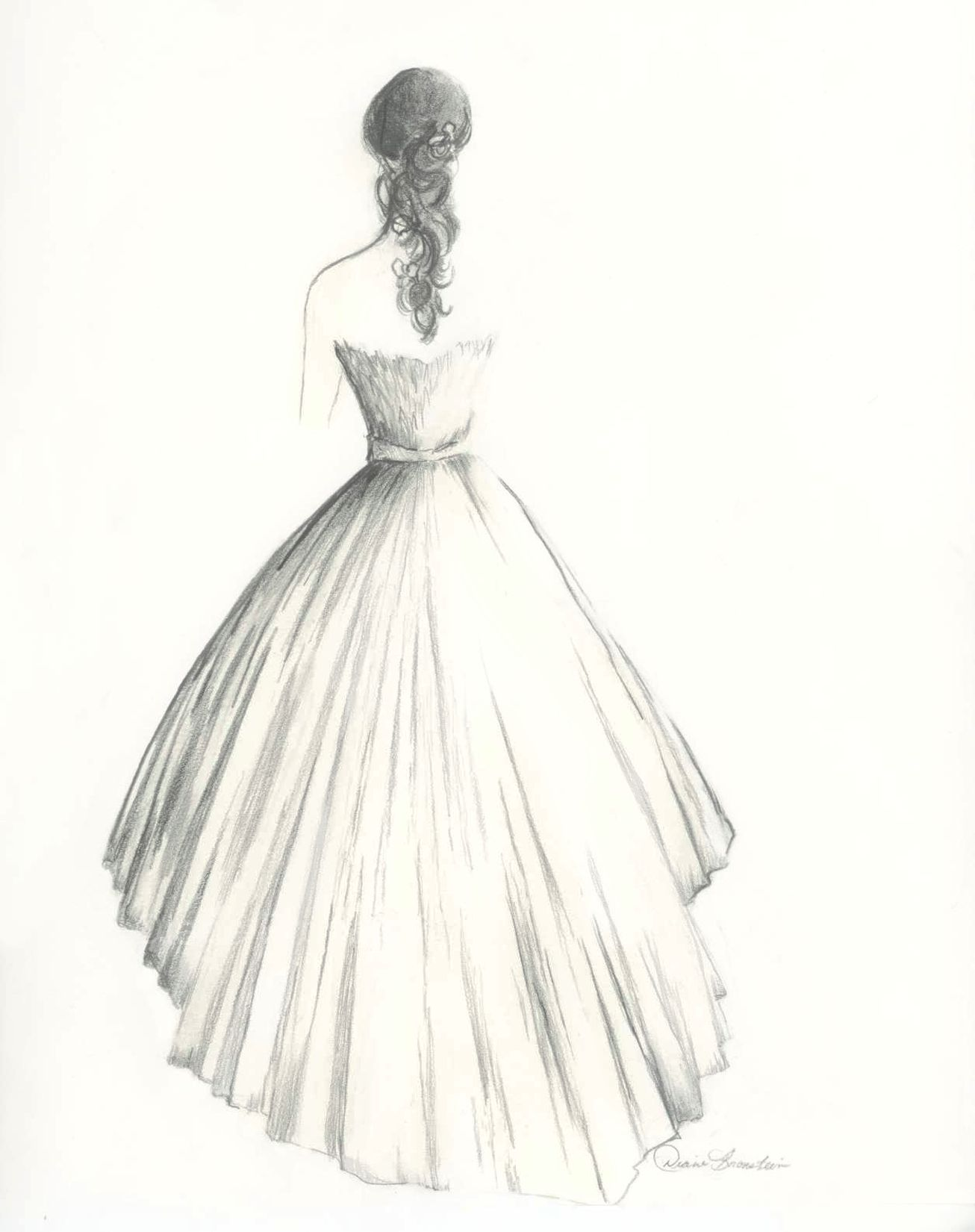 White dress drawing - Custom Drawing Of A Bride In Her Wedding Dress By Diane Bronstein