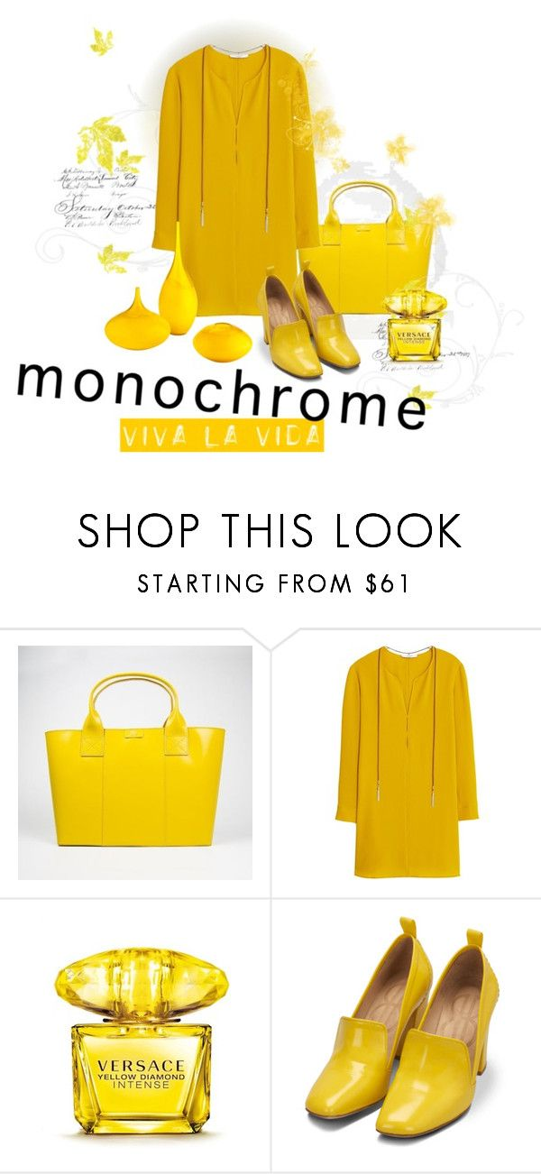 """""""Yellow Submarine :)"""" by stecknaddel ❤ liked on Polyvore featuring Paperthinks, MANGO, Versace, Bill Blass and Cyan Design"""