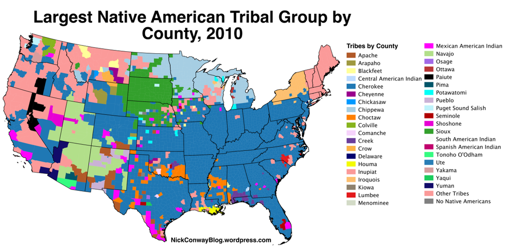 Largest Native American Tribal Group by County, 2010 | maps