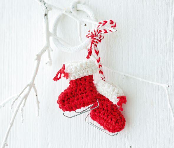 Gehäkelte Mini Schlittschuhe Weihnachten Pinterest Crochet