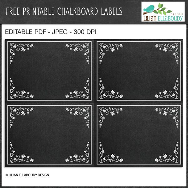 photograph about Printable Chalkboard Labels named Totally free Editable Chalkboard Labels - Wonderful for organizational