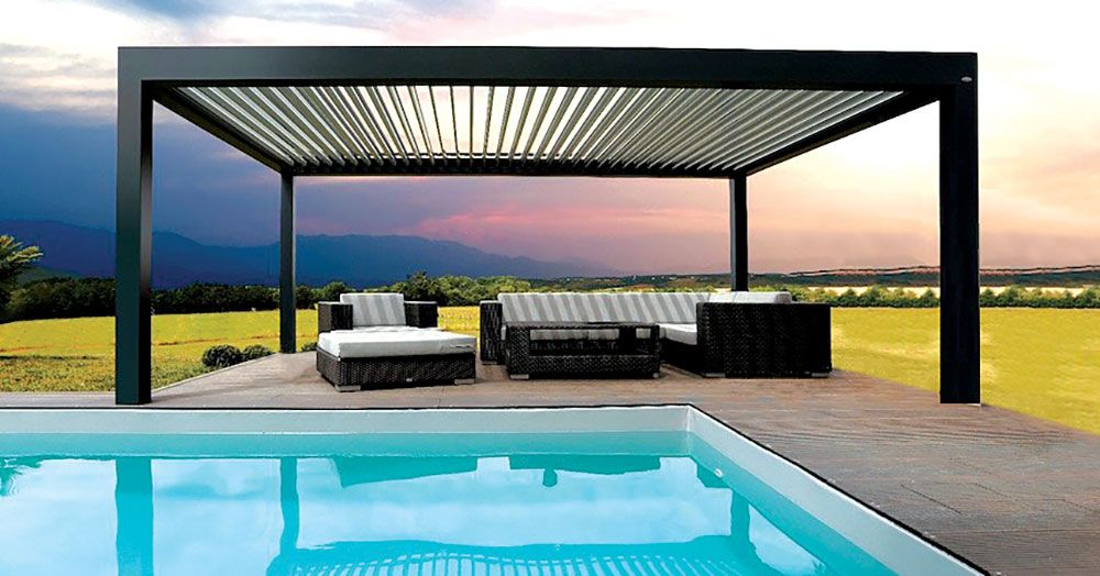 Louvered Pergola Covers Shade And Shutter Systems Inc New England Massachusetts Cape Cod Long Island And Conne Louvered Pergola Pergola Pergola Designs
