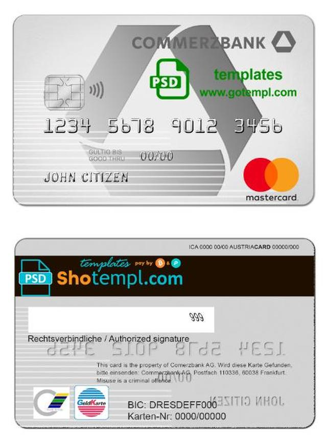Germany Commerzbank Bank Mastercard Template In Psd Format Fully Editable Templates Card Template Document Templates