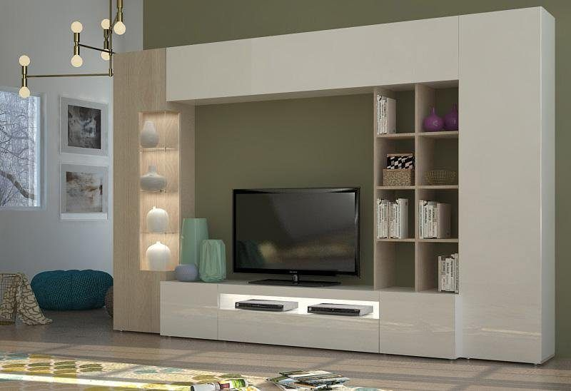 Wohnzimmer Hochglanz ~ Tecnos wohnwand beige hochglanz fsc® zertifiziert jetzt bestellen