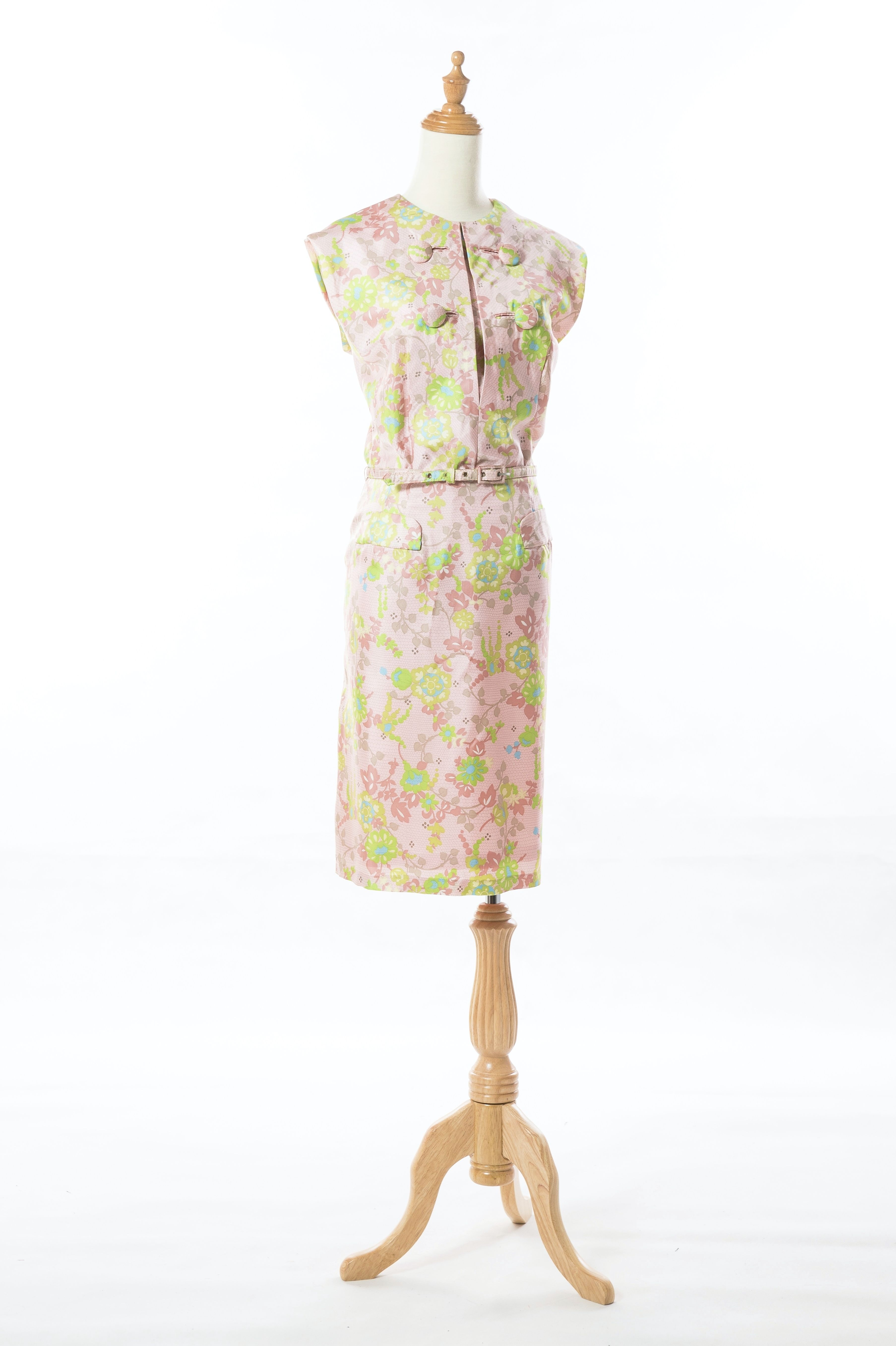 ba32248d77e 1960s Floral Pastel Pink Asian Inspired Cocktail Dress