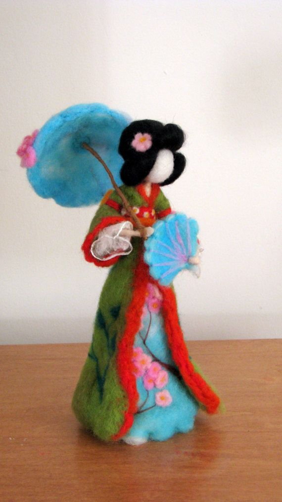 Art doll Geisha doll Waldorf inspired Needle felted geisha Home decoration Sakura flower