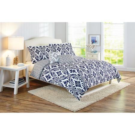 Better homes and gardens indigo scrollwork 5 piece bedding - Better homes and gardens comforter sets ...