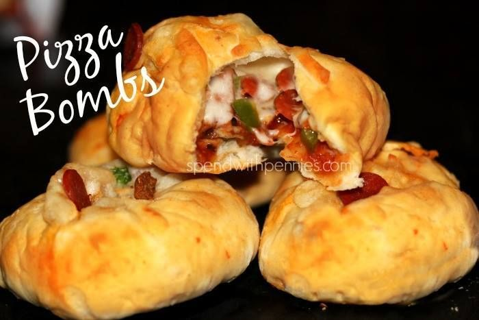Pizza Bombs - These look like pizza rolls, but much more filling! Almost like mini-calzones! http://www.spendwithpennies.com/pizza-bombs/ <- Recipe