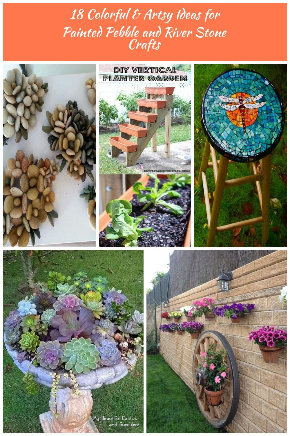 Stone Flowers Garden Decor Diy 18 Colorful Artsy Ideas For