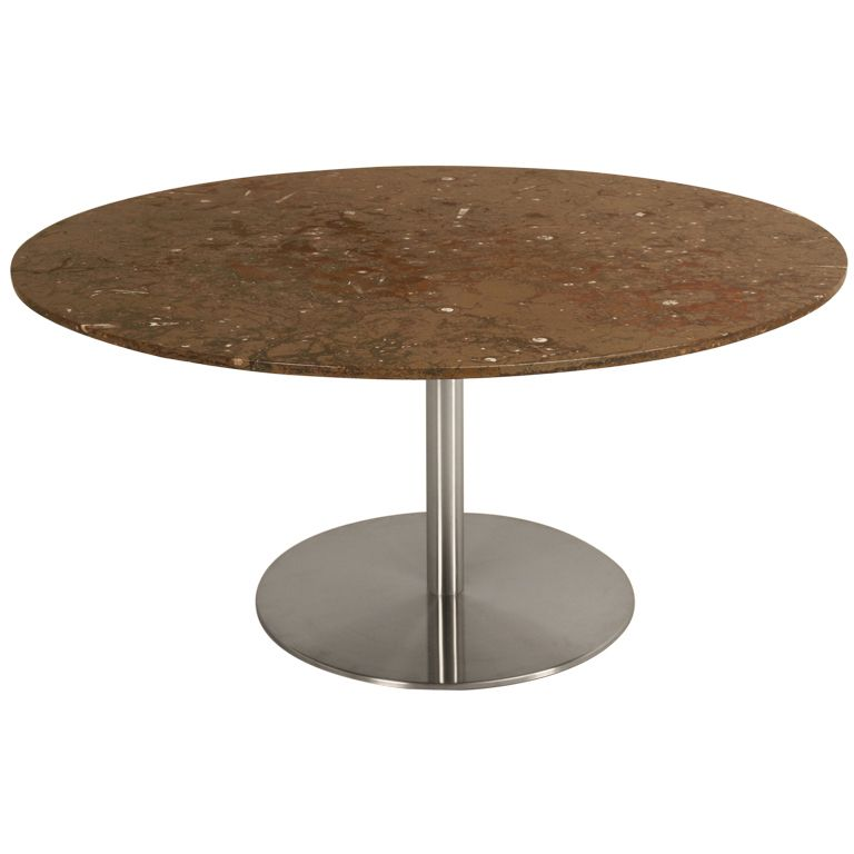 Fossil Stone & Stainless Steel Dining Table | From a unique collection of antique and modern dining room tables at https://www.1stdibs.com/furniture/tables/dining-room-tables/