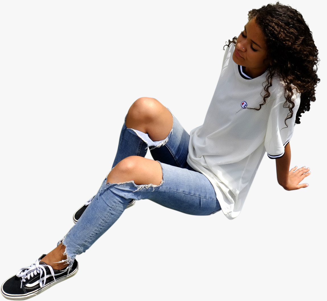 Casual Girl Sitting Aerial View Sitting Girl People Png Casual Girl