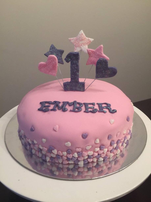 Cute pretty girl birthday cake for first birthday Bella