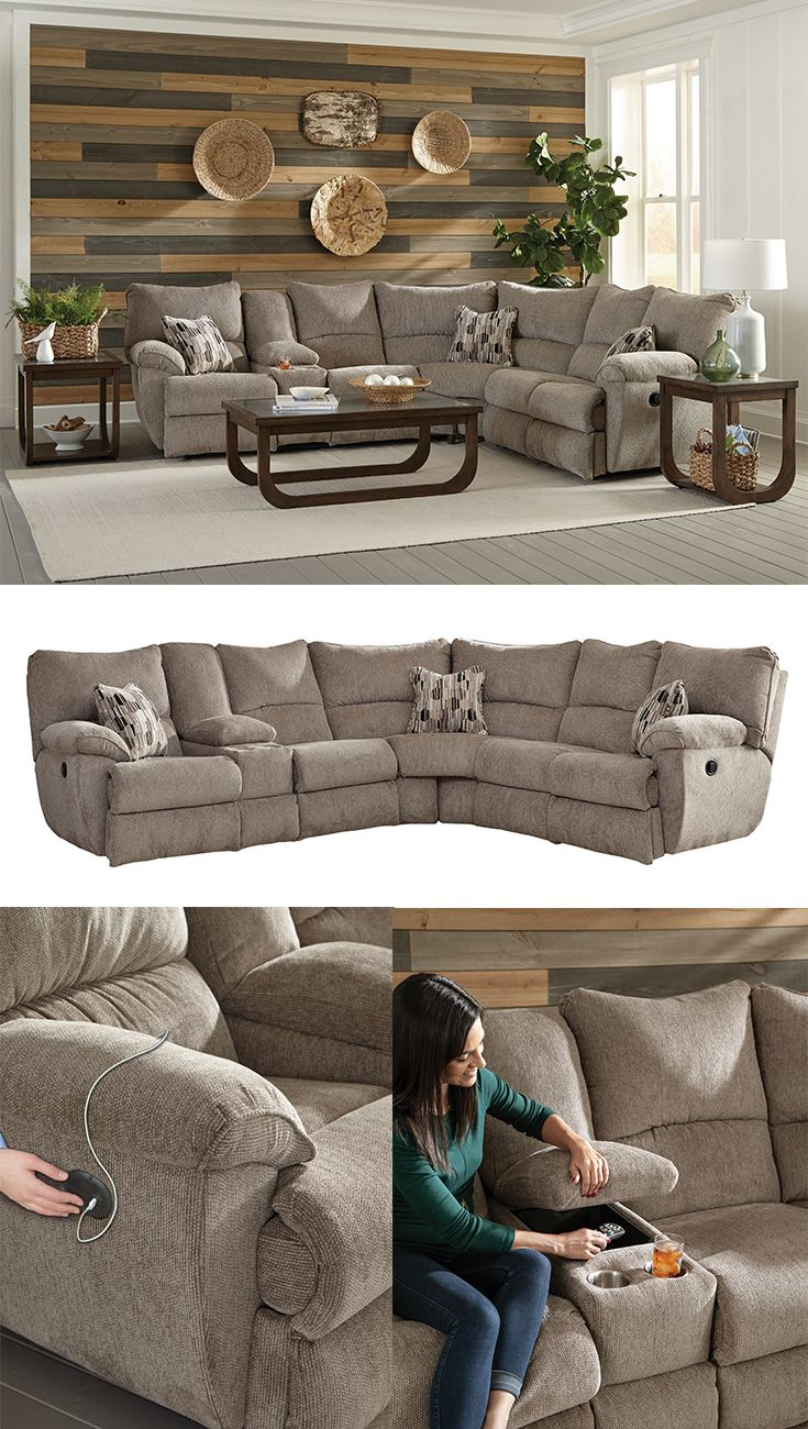 Elliott Lay Flat Sectional Sofa With Storage Console By Catnapper In 2020 Sectional Sofa With
