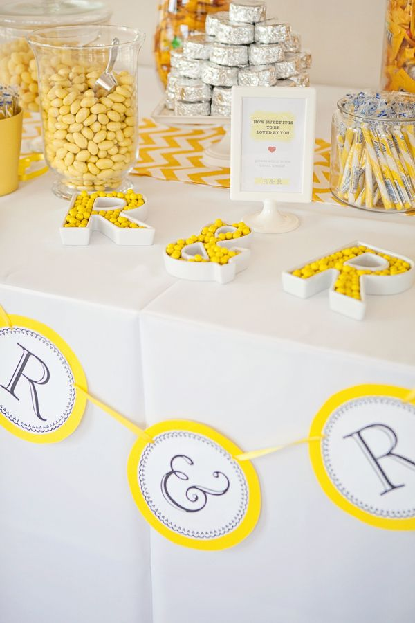 Surprising Cute Creative Yellow And White Themed Candy Table Photo Download Free Architecture Designs Scobabritishbridgeorg