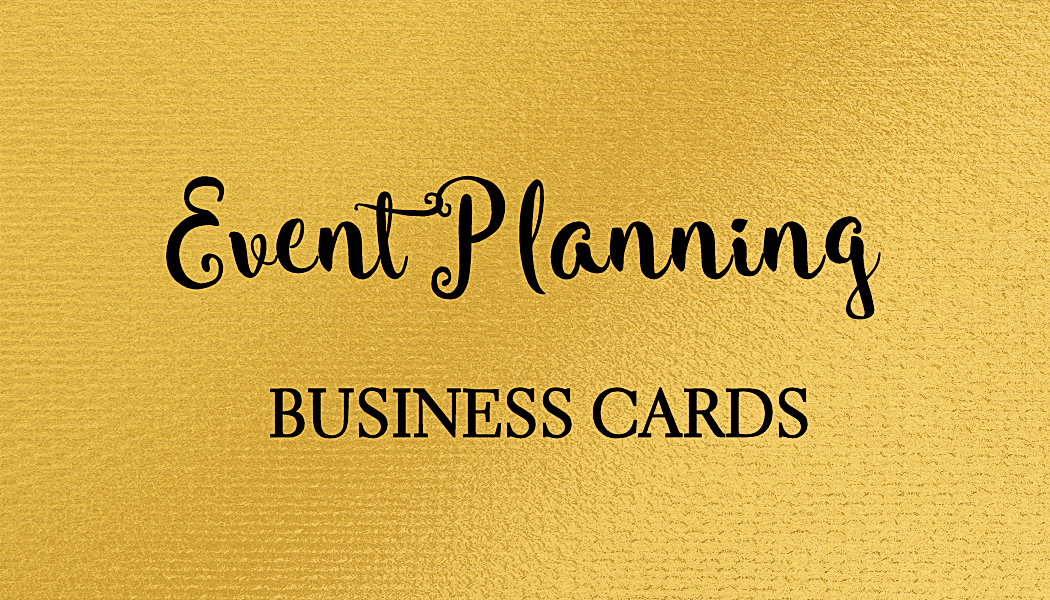 A collection of girly event planning business cards personalized for ...