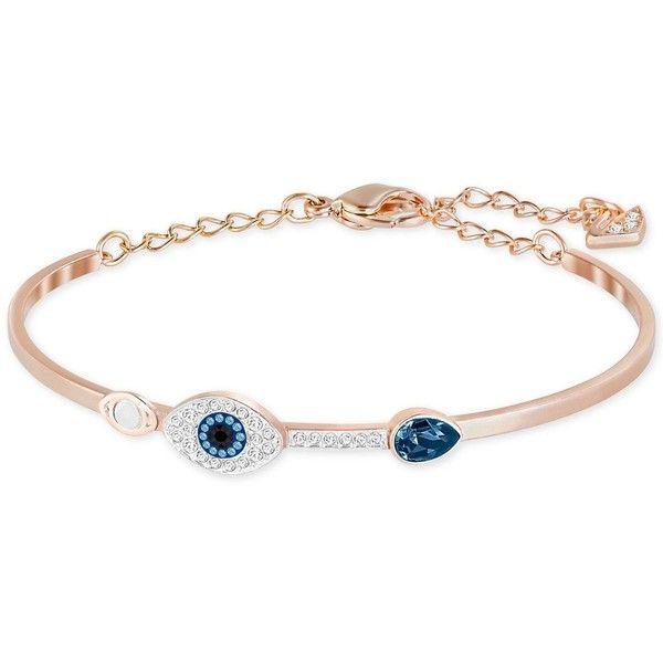 Swarovski Rose Gold-Tone Clear and Blue Crystal Evil Eye ...