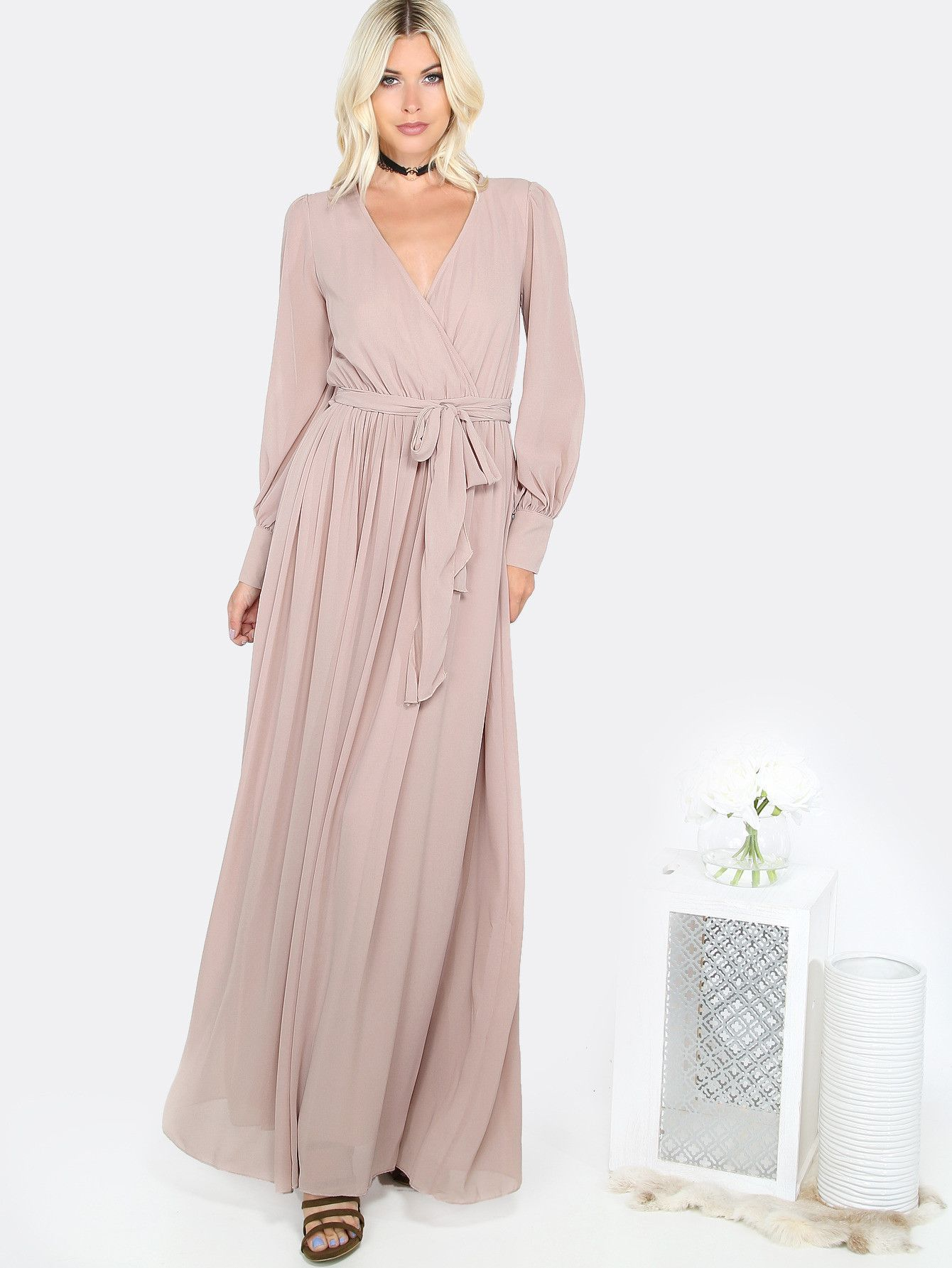 Khaki v neck long sleeve long dress products pinterest fall