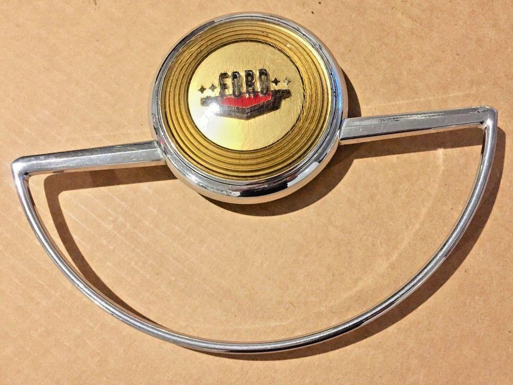1949 1950 Ford Custom Deluxe Steering Wheel Horn Ring Button Factory Original Horn Ring Button Factory Steering Wheel