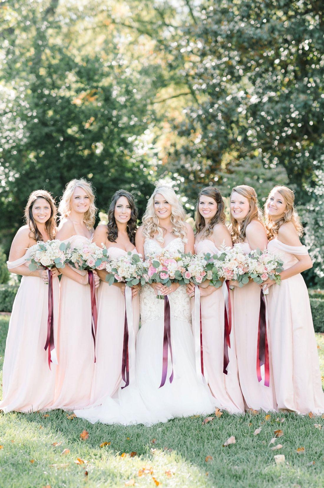 6 gorgeous bridesmaids in blush floor length Bella Bridesmaid gowns ...