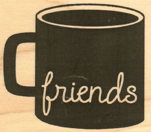 """{Single Count} Unique & Custom (2.25"""" by 2"""" Inches) """"Morning Coffee Mug Friends Text"""" Rectangle Shaped Genuine Wood Mounted Rubber Inking Stamp"""