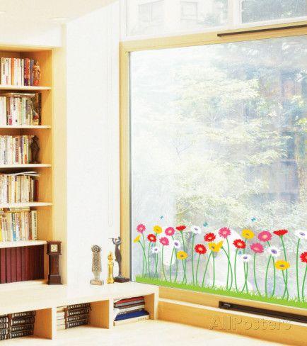 Fleurs en Pot 7er Set Printemps Fenêtre Sticker Autocollant Décoration Mural