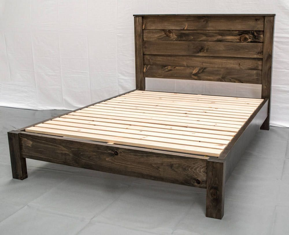 Details about Platform Bed Reclaimed Solid Wood Rustic