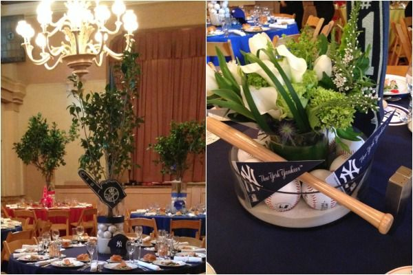 Baseball theme yankees centerpieces modern blue green bar baseball theme yankees centerpieces modern blue green bar mitzvah party by florie huppert design junglespirit