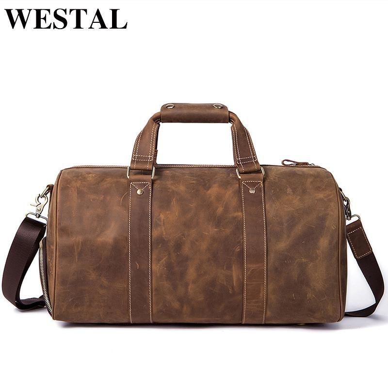 fca61da5da30f WESTAL Crazy Horse Leather Duffle Bags Vintage Weekend Bag Carry on Luggage  Men Computer Laptop Handbag Men Travel Bag Leather.