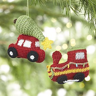 Christmas Train And Car Crocheted Ornaments Crochet Ornaments Toddler Christmas Tree Christmas Crochet