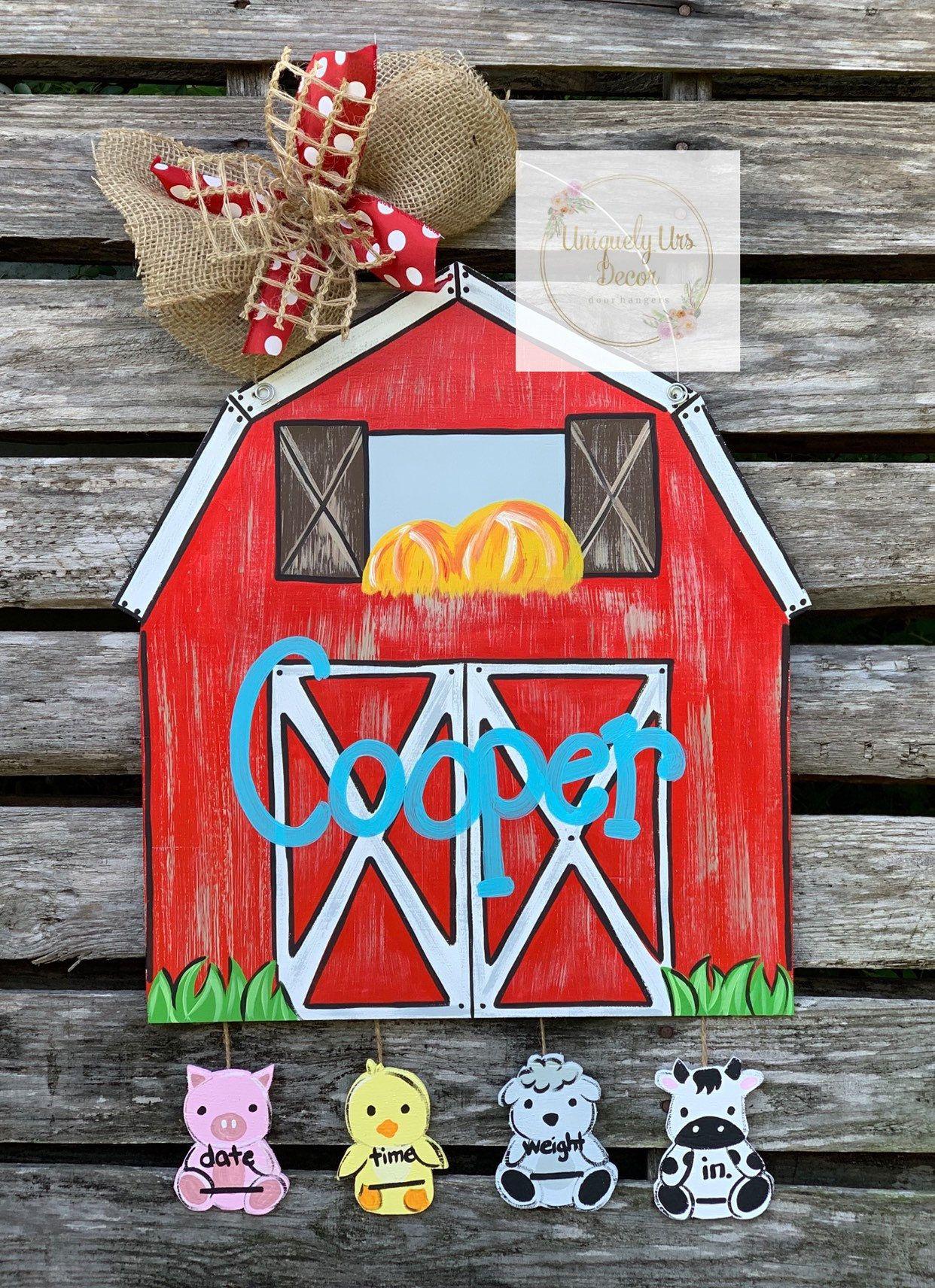 Farm animal door hanger barn door hanger door hanger