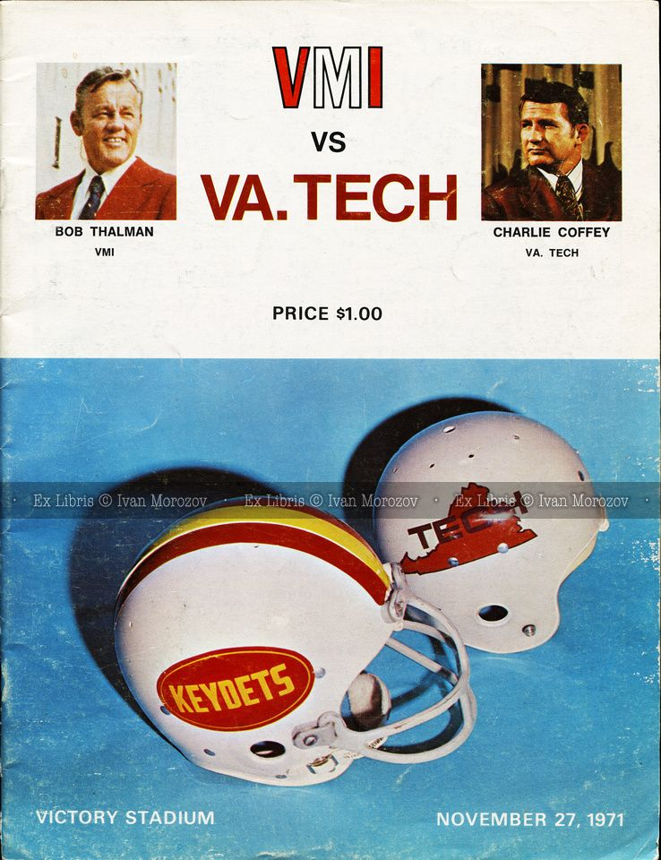 VirginiaTech Football Hokies 1971.11.27. Virginia Tech