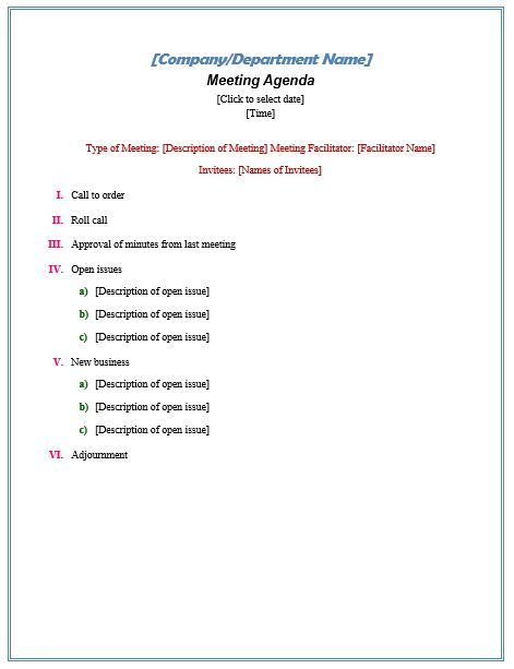 Formal Meeting Agenda Nonprofit Ideas Pinterest - meeting agenda template word