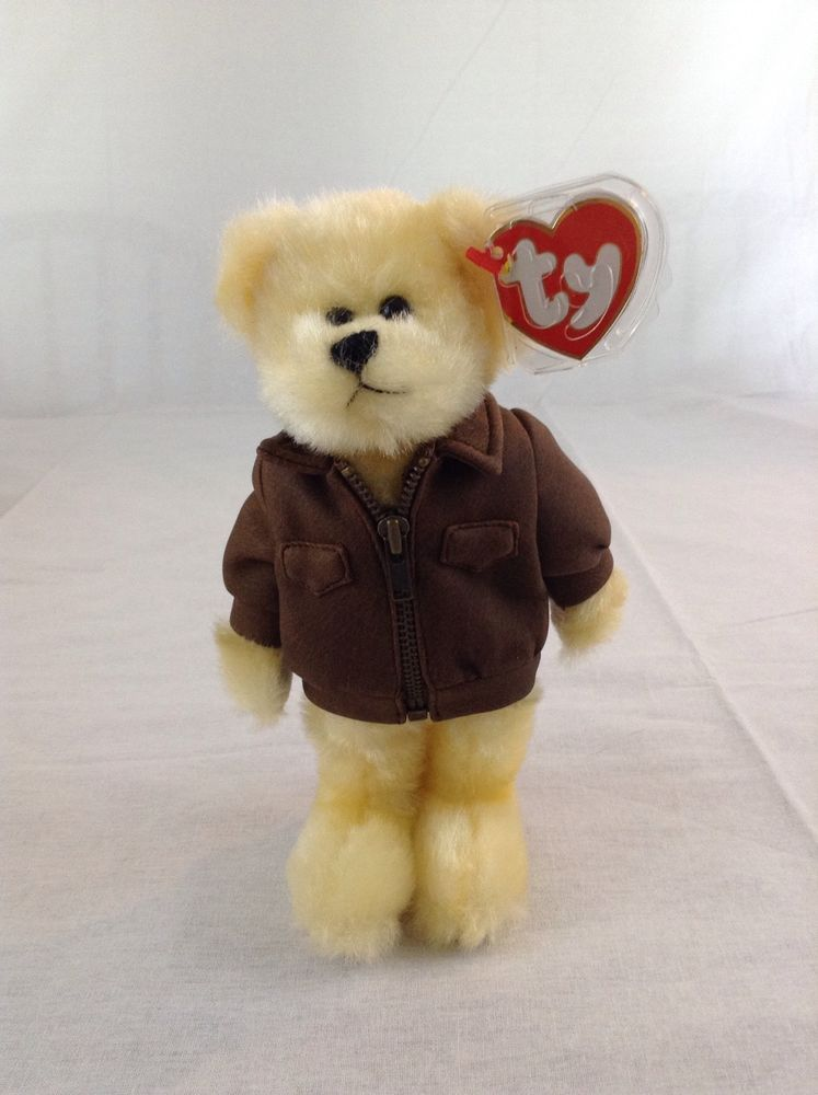 1993 Ty Beanie Baby Baron The Bear With Leather Jacket Plush Toy Animal  Ty 2b4ff472220