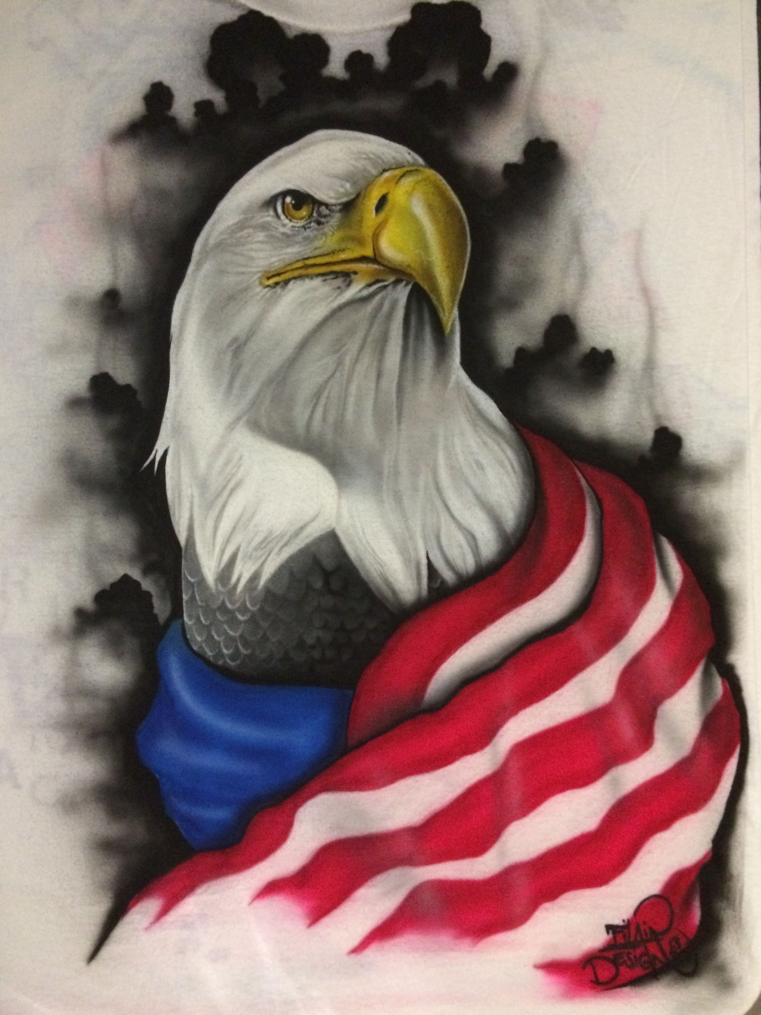 f9fba9dc806d Bald Eagle Airbrushed on a T-shirt