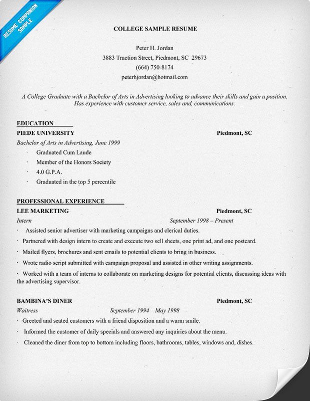 resume example for college student       resumecompanion
