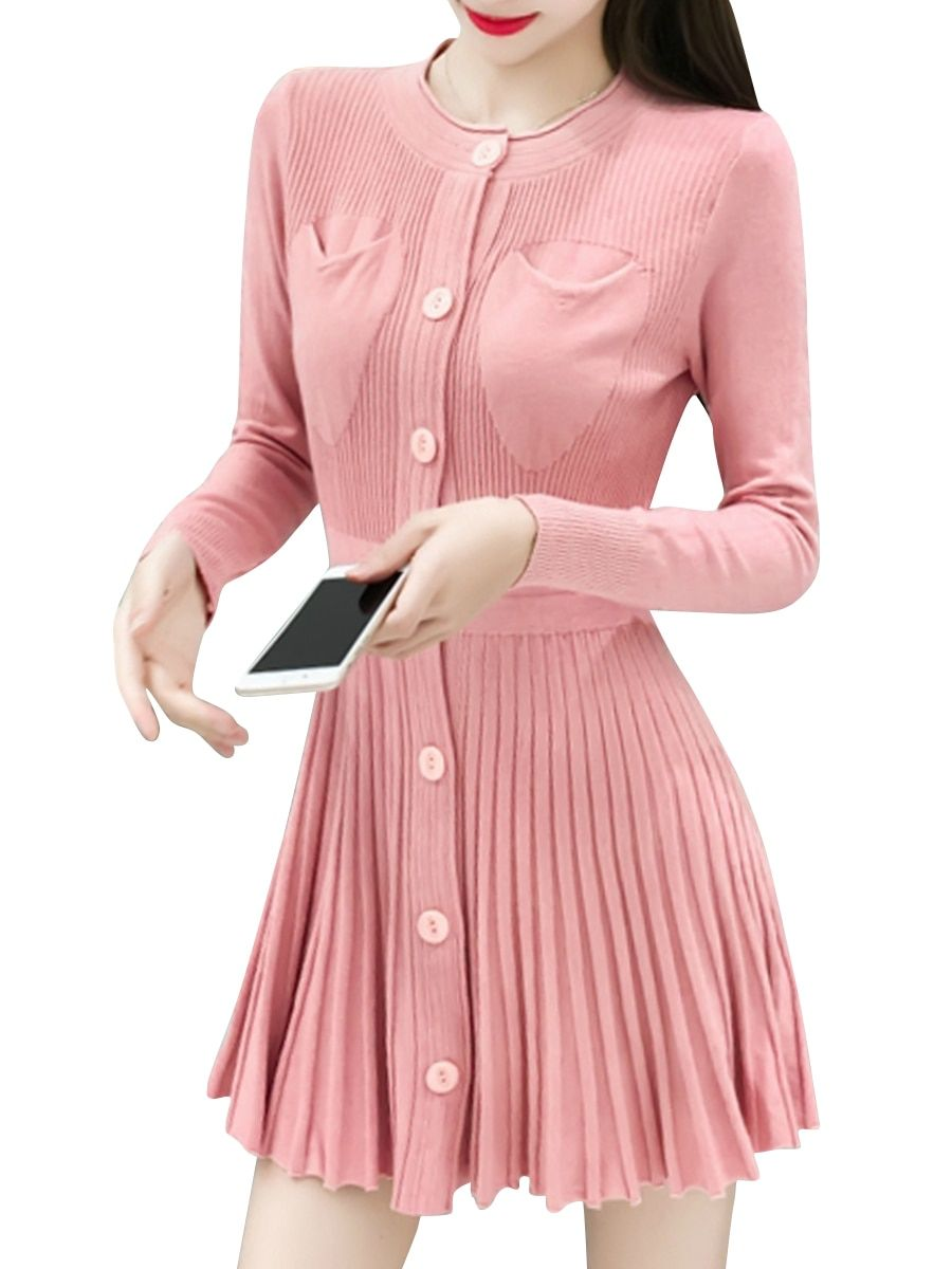 Buy womenus dress long sleeve o neck solid color pleated dress