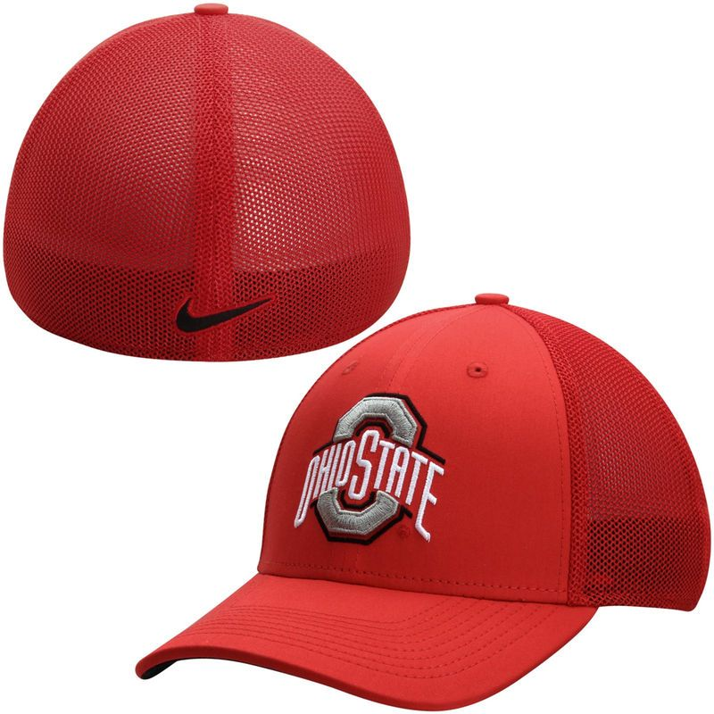 Ohio State Buckeyes Nike Performance L91 Mesh Back Swoosh Flex Hat - Scarlet