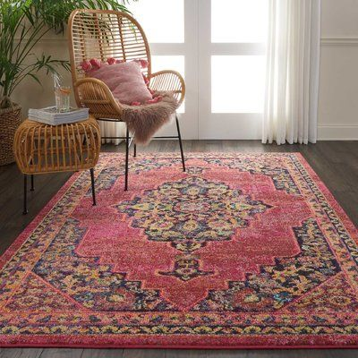 World Menagerie Lundy Traditional Medallion Dark Pink Area Rug In 2020 Area Rugs Pink Area Rug Yellow Area Rugs