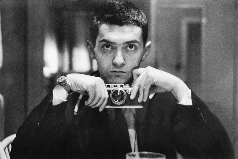 Stanley Kubrick, director of PATHS OF GLORY, 2001: A SPACE ODYSSEY, and DR. STRANGELOVE, 1949 self-portrait with Leica III (1928-1999)