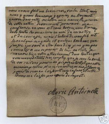 """lettera della regina inviata al generale Jarjaies dopo il fallito tentativo di fuga: """"Abbiamo fatto un bel sogno, questo è tutto..."""